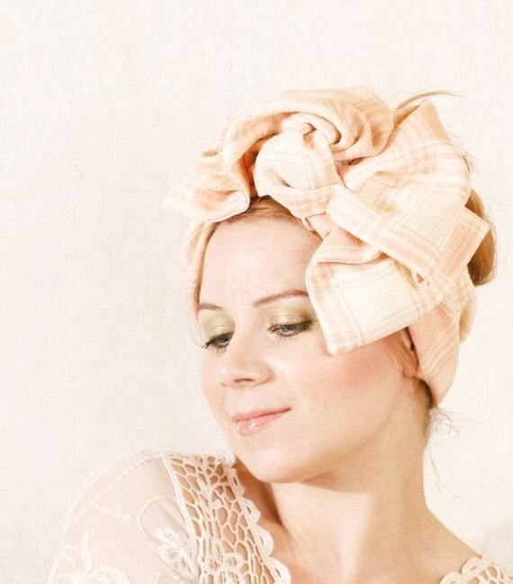 Headband hat Retro headband Pink headband Summer headband Retro hat Gingham headband Bow fascinator Vintage headband Fascinator headband