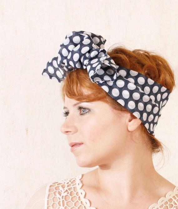 Polka dot headband Blue headband Retro headband Pinup headband Scarf headband Head wrap Summer headband Rockabilly hair bow Head band
