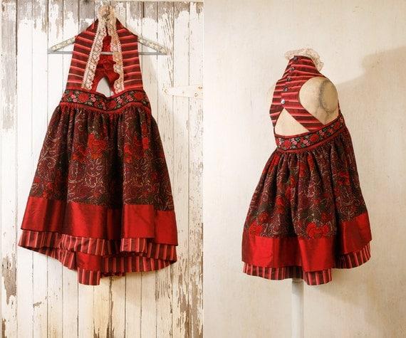 Babydoll dress Bohemian gypsy dress Pixie dress Mini dress Russian dress Empire dress Festival dress Red dress Halter dress