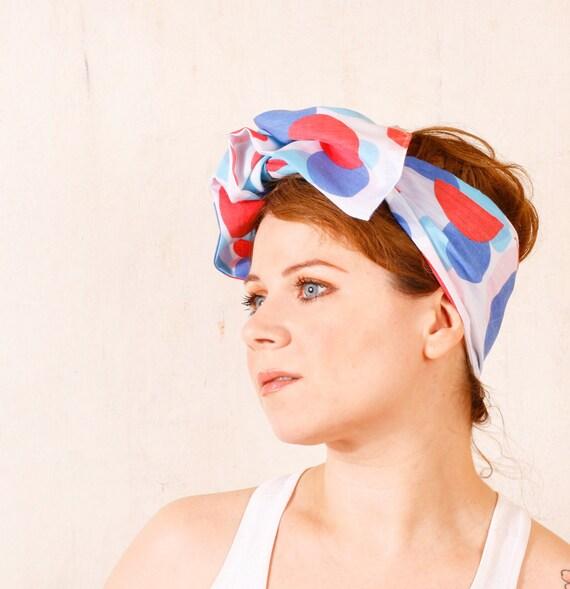 Hair scarf Summer headband Fabric headband Beach headband Pinup headband Retro headband White headband Scarf headband Circle headband