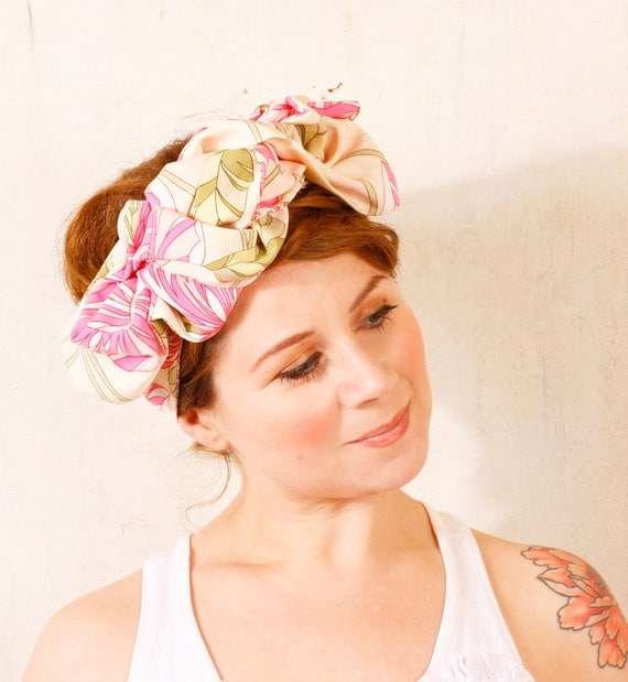 Floral headband Pink headband Hair scarf Summer headband  Romantic headband Turban headband Retro headband Big hair bow headband Head wrap