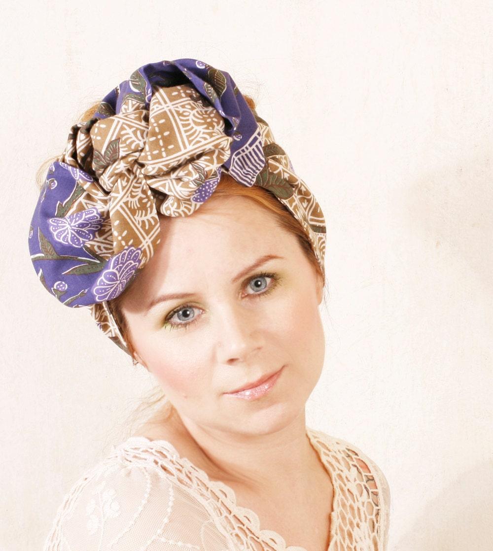 blue turban blue headband turban headband hair scarf by