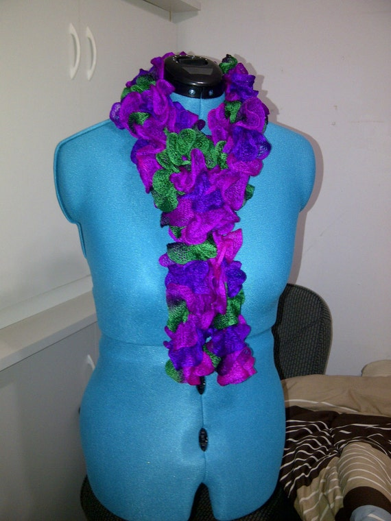 Mardi Gras Purple and Green Small Fishnet Ruffle Scarf