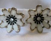 Vintage Pair Winter White and Black Enamel Flower Earrings with Rhinestone Centers