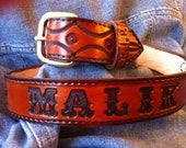 Custom Genuine Leather Belt - add name, initials, color, size - Made in USA