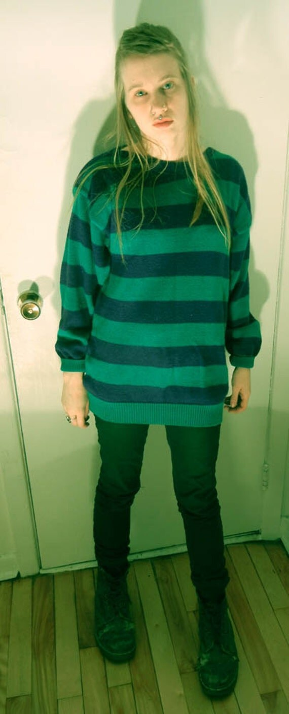 ON SALE - Blue and green striped sweater