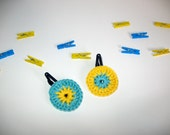 Flower hair clips - crochet flower - summer fashion - color lovers - gift for girls