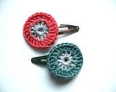 Crochet hair clips - crochet flower - summer fashion - color lovers - gift for girls