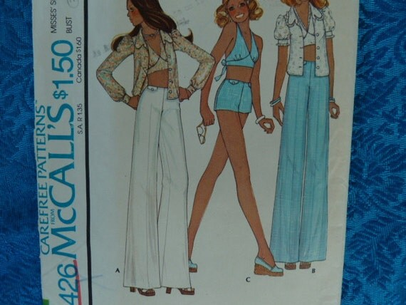 vintage 1970s sewing pattern McCalls 4426 blouse halter pants