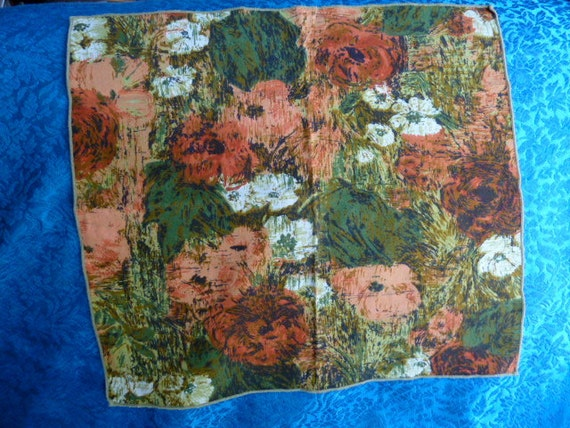 vintage 1950s abstract floral cloth napkins orange green set of 8