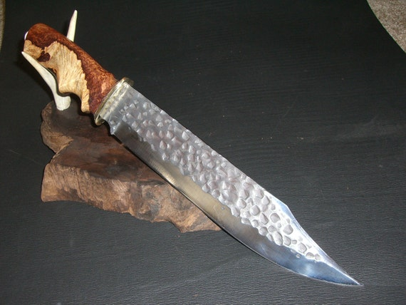 """Hammer Forged 17"""" Bowie Knife with Sunburst Marbled Hand Carved Wood handle and Custom Leather Sheath with fringe"""