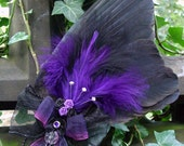 Crow wing fascinator - purple. Hand prepared and handcrafted.  Be Gothic: Be Deadly