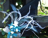 Jackdaw wing fascinator - Aqua Cascade. Hand prepared and handcrafted.  Be Refreshed: Be Deadly