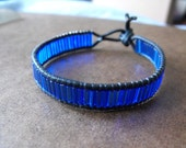 Beautiful beaded leather single wrap bracelet- Sparkly Bright Blue Baguette Beads