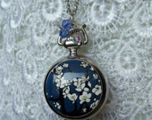 Watch pendant, silver watch pendatnt with apple blossom design, swarovski  crystal beads, blue and white ceramic beads and silver charms