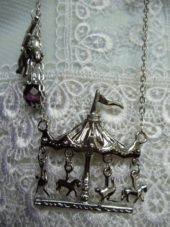 Carousel Horse Necklace, Necklace with carousel features with purple accent beads and charms