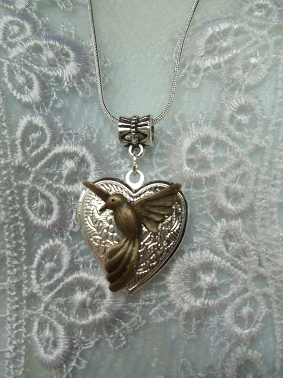 Silver heart locket Necklace, Necklace Locket with humminbird opens to display photo