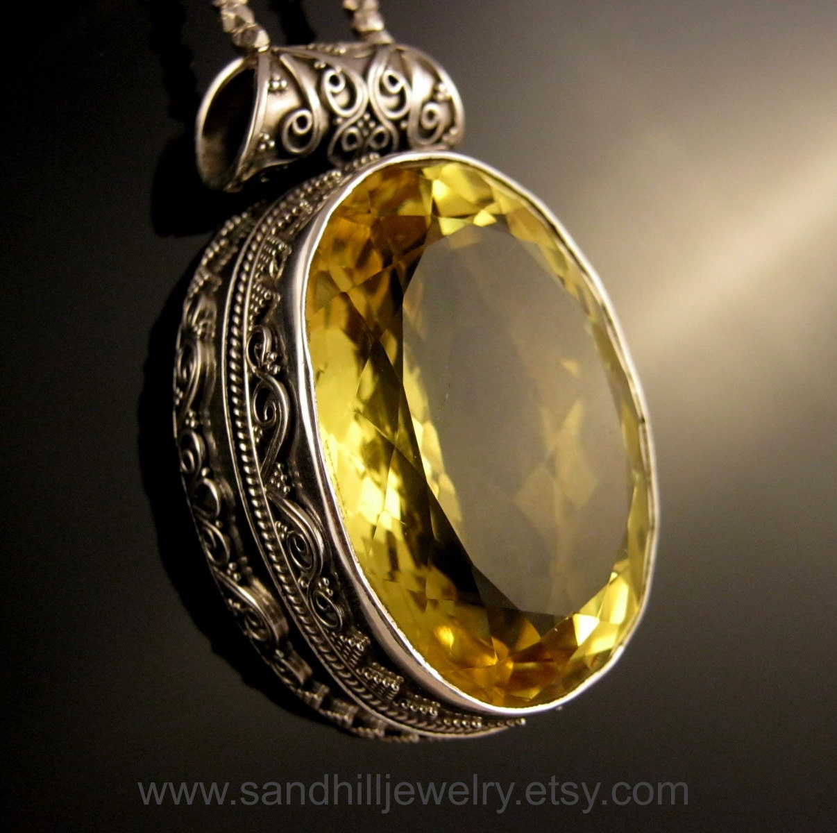Yellow Topaz Pendant Necklace With Natural Yellow Sapphire And