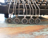 Vintage Antique Type Writer Key Necklace on a silver bead chain.  For birthdays