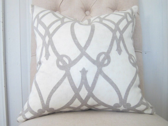 Decorative pillow cover - 18 x 18 - Braemore 'Fioretto' Graphite - gray - ivory - cream - linen fabric - contemporary - shipping included