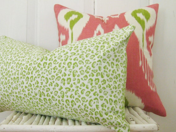 Lumbar Pillow Cover - 14 x 24 - Lime Green Animal Print - P Kaufmann Woven Leopard Fabric - Cute for College Dorm Room