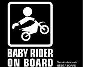 "Baby on board sticker - motocross rider - (5.5"" x 8"")"