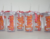 Bridesmaid gift - Personalized Acrylic Tumblers with straw- set of 6 - Teacher gift, Hostess gift