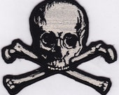 Skull and Cross Bone Embroidery Applique Patch