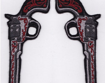 Pair of Six Shooters Left  & Right Embroidery Applique Patch