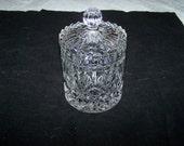 Sale VINTAGE CANDY or VANITY jar pressed glass crystal beautiful jar diamond starburst design