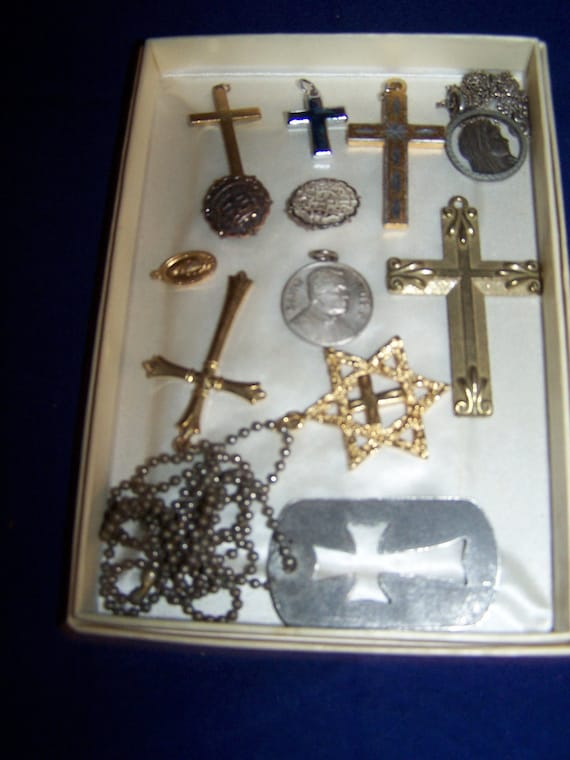 lot of religious crosses medals pins