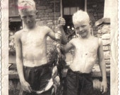 Vintage Photo Two Boys and the Fish They Caught