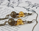 Antiqued Brass Filigree Bead Earrings - Lamp Light
