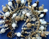 Two-Tone Chain Charm Bracelet with Vintage and new white, gold and silver beads