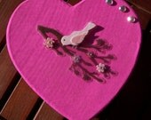Upcycled Pink Heart Box with Bird Decals