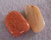 Sunstone Moonstone Necklace Pendants Pair