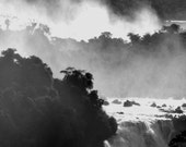 Black and White Waterfall Mist - Nature Photograph