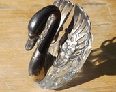 Old Made In Italy Silver & Glass Swan