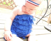 PERFECT FOR 4th of July: Gorgeous royal blue strapless lace pettiromper.
