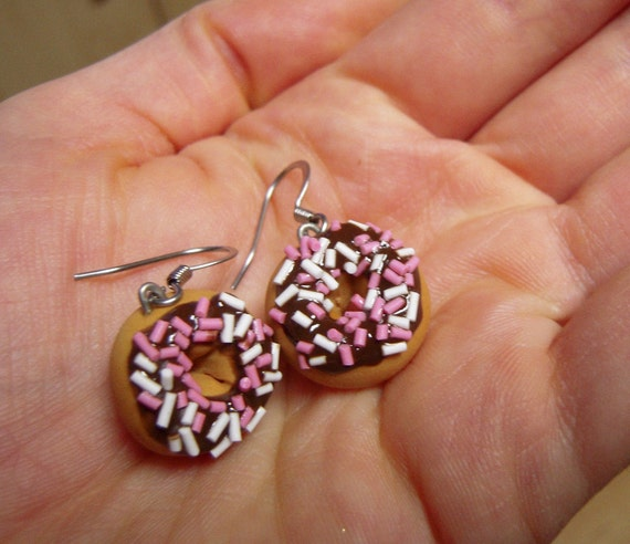 Chocolate Sprinkle Doughnut Earrings