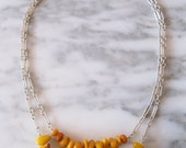 Handmade sterling silver & butterscotch Baltic amber large nugget double strand necklace beachy
