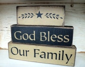 God Bless Our Family Stacked Primitive Distressed Block Set Sign