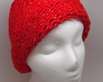 Bright Red Loom Knit Hat with Rolled Brim