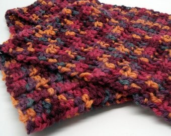 Hand Crocheted Wool Scarf in Autumn Colors