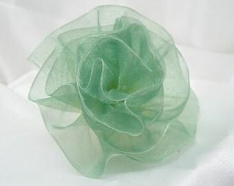 Iridescent Green Organdy Ribbon Rose