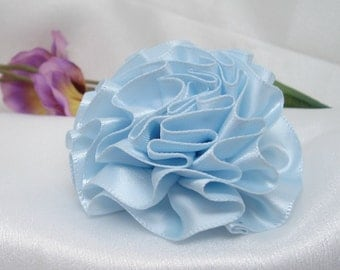 Ice Blue Satin Ribbon Rose with Pin Back