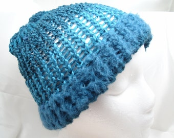 Loom Knit Hat with Brim Reversible: Luxe Aquamarine Cyan Blue Wool