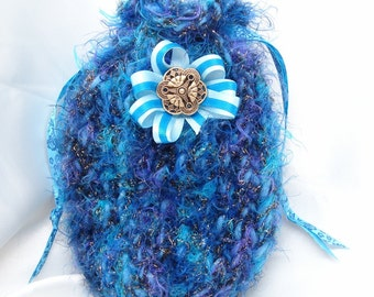 Fuzzy Blue Loom Knit Bag with Flower