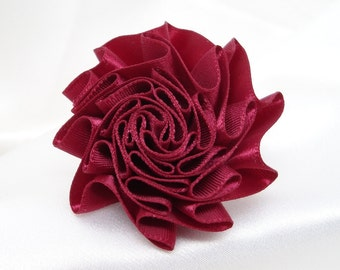 Burgundy Ribbon Rose with Pin Back