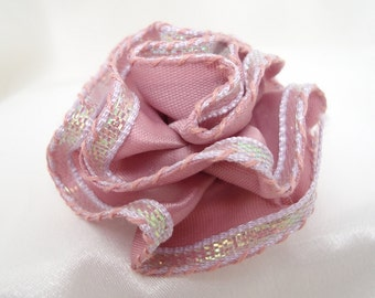 Pink Ribbon Rose with Pin Back